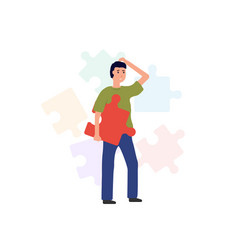man with puzzle piece vector image