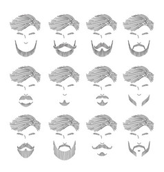 Men beard set different style outline vector