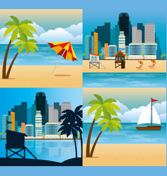 miami beach cityscape set scenes vector image