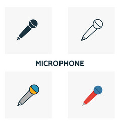 microphone icon set four elements in diferent vector image
