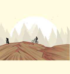 Mountain bike on hill vector