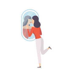 narcissistic woman character looking at mirror and vector image