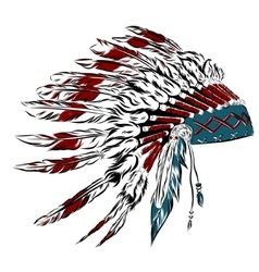 Native American indian headdress with feathers in vector image