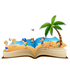 open book with group of children playing on tropic vector image
