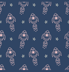 outer space universe childish seamless pattern vector image