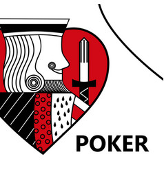 Poker card gambling king with sword in sign heart vector
