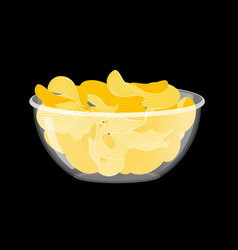 Potato chips in bowl fried potatoes in deep vector