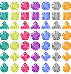 Precious gems Flat icons set vector image