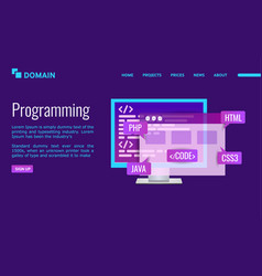 programming landing page design pc with program vector image