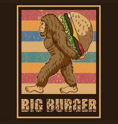 Retro bigfoot burger vector