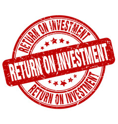 Return on investment red grunge stamp vector