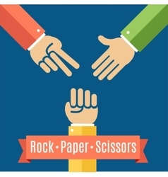 Rock paper and scissor game flat vector