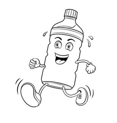 run bottle of water coloring book vector image