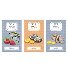 Sea food menu cards realistic layout vector