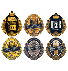 set labels for beer and brewery in retro style vector image