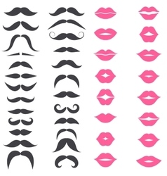 set mustache and pink lips isolated on white vector image