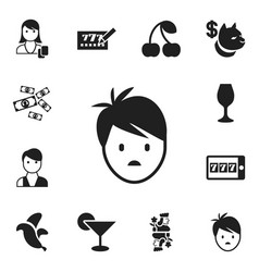 Set of 12 editable gambling icons includes vector