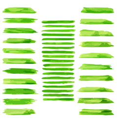 set of green paint water color brushes stroke vector image