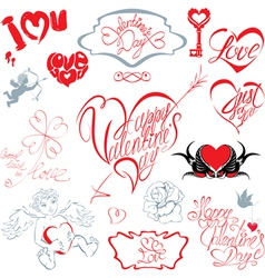 Set of hand written text happy valentines day vector