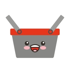 shopping basket character isolated icon vector image