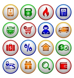 Shopping Icons Colorful round buttons vector