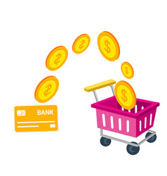 shopping infographic cart card credit shopping con vector image