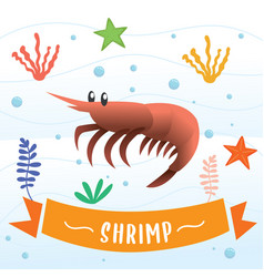 shrimp cartoon character vector image