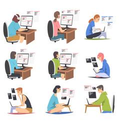 Software developer or programmer engaged in coding vector