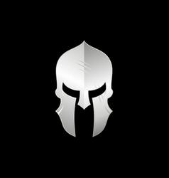 Sparta spartan warrior helmet logo metallic vector