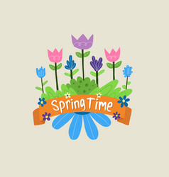 Spring flowers banner for commercial use vector