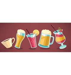 summer drinks collection vector image vector image