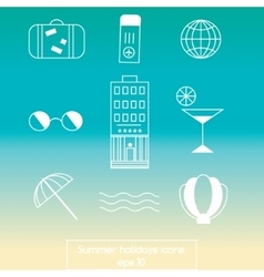 Summer travel line icons vector image