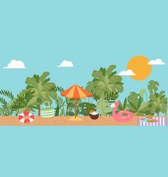summer vacation beach sun umbrella sand palm vector image