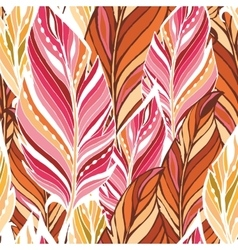 Texture with feathers in warm colors vector