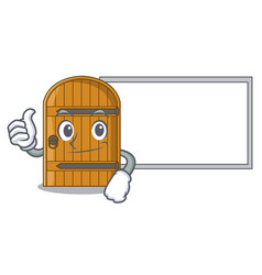 Thumbs up with board cartoon wooden door massive vector