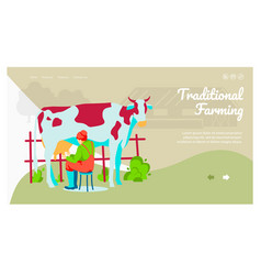 Traditional farming landing page vector