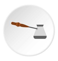 Turkish coffee pot icon circle vector