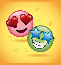 two smile emoticons face love and star happy vector image