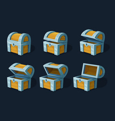 Various key frames animation of wooden chest or vector