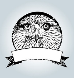 Vintage label with eagle face vector image
