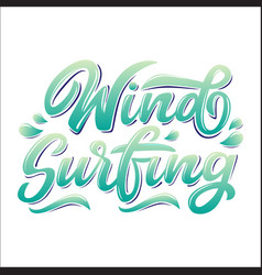 wind surfing lettering logo in graffiti style vector image
