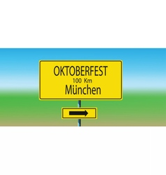 with yellow road sign and direction vector image
