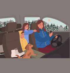 Woman drive vehicle family trip winter vacation vector