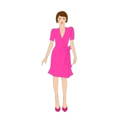 Woman in elegant pink dress flat icon vector