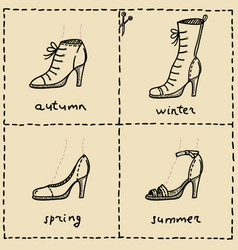 Woman shoes doodle set vector