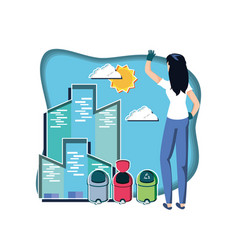 Woman with wastes garbage recycling in eco vector