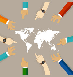 World map together hands pointing together concept vector