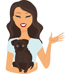Young woman holding a dog vector