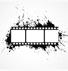 abstract 3d film strip background with black ink vector image