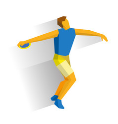 athlete throwing the discus isolated on white vector image